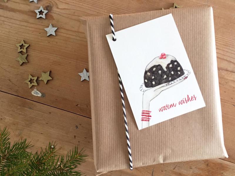 cadeaulabel | kerst pudding | per 5