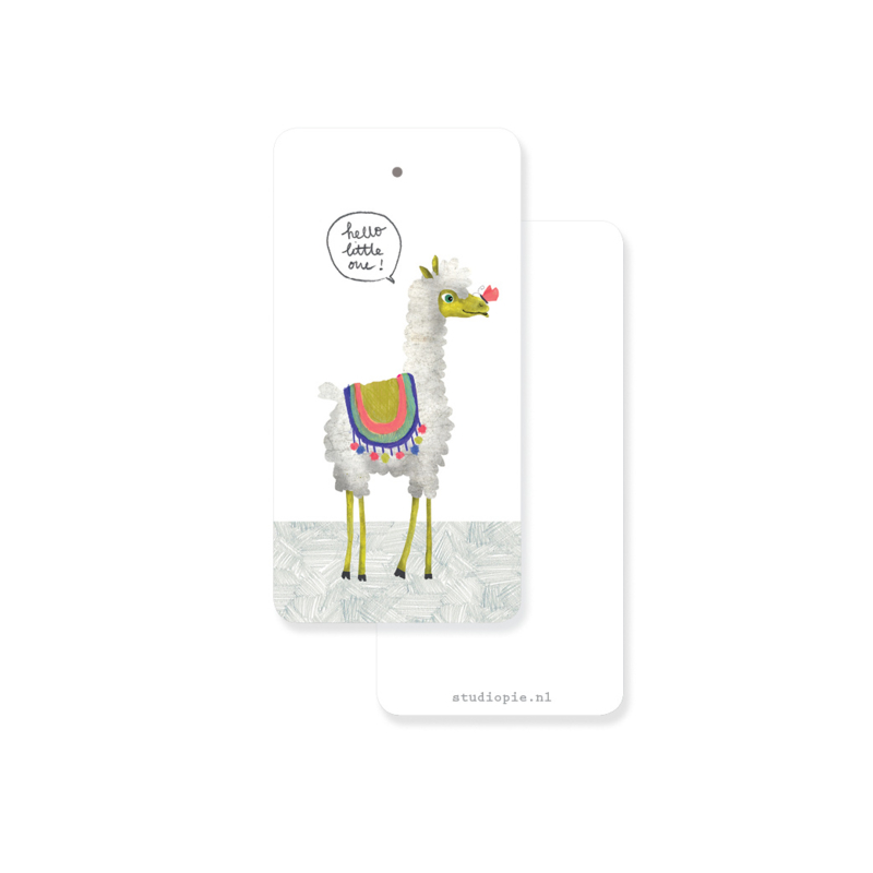 Gifttag alpaca 'Hello little one' - per 5 stuks