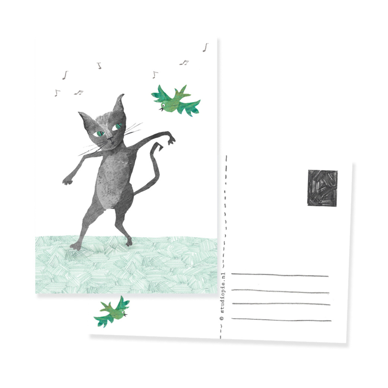 postkaartje poes en vogel Lets dance | per 5