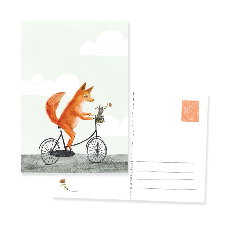 ansichtkaartje vos en muis op de fiets | per 5 stuks