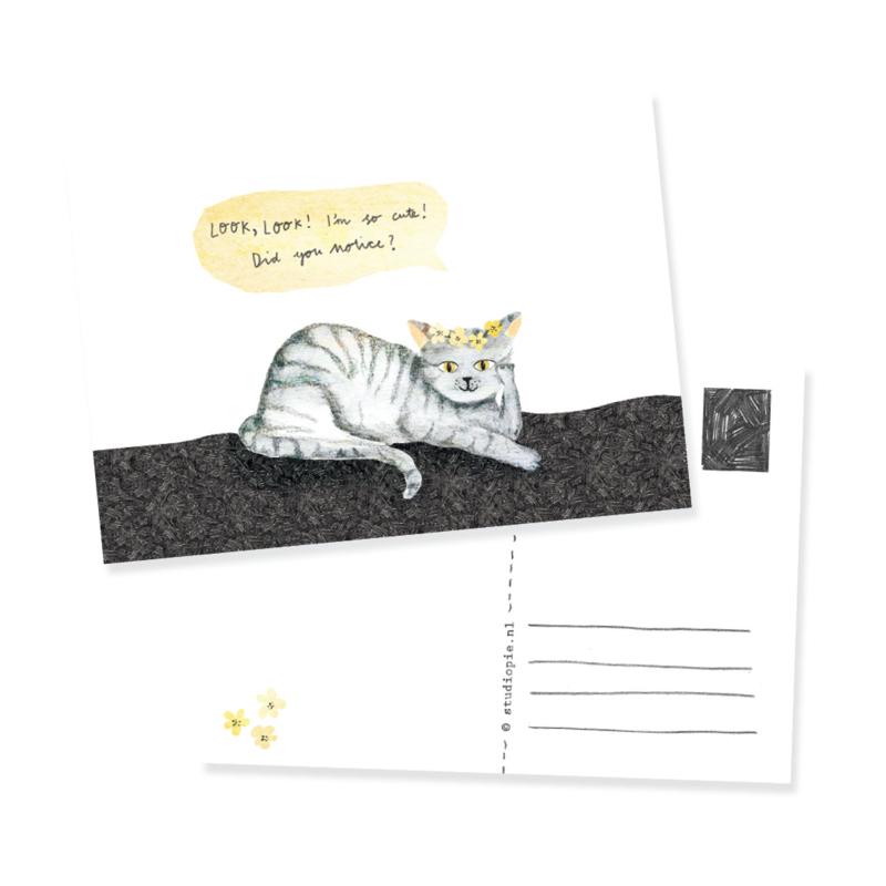 grappige ansichtkaart met snapcat | per 5