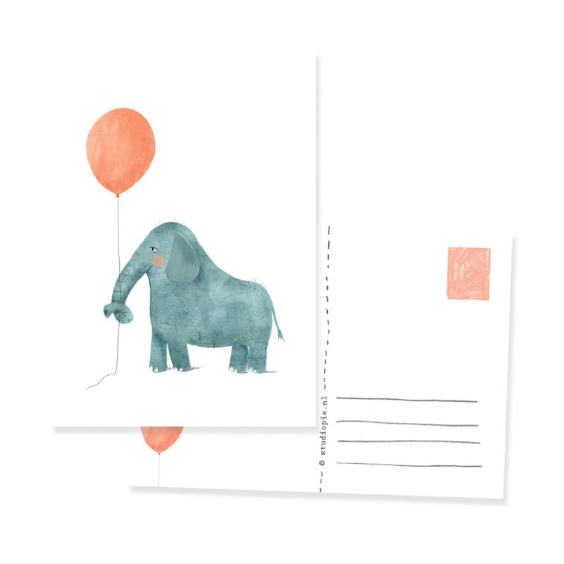 Feestelijke ansichtkaart olifant met ballon | per 5 stuks