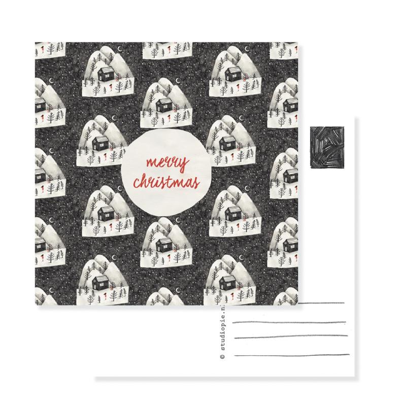 kerst kaart huisje patroon | per 5