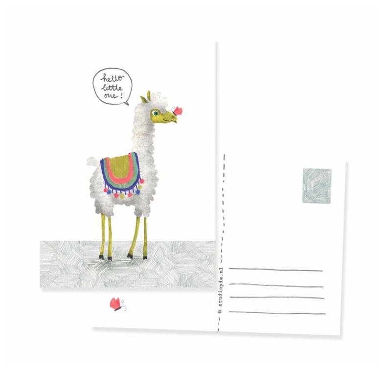 ansichtkaart alpaca 'Hello little one!' | per 5 stuks