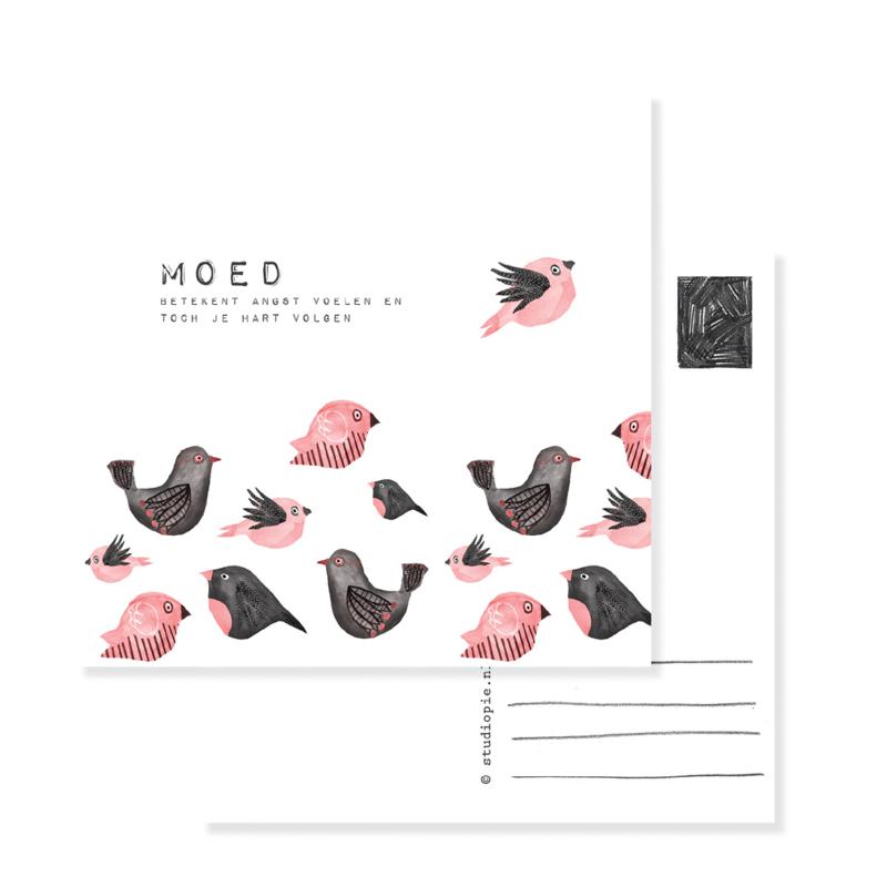 ansichtkaart vogel MOED   per 5
