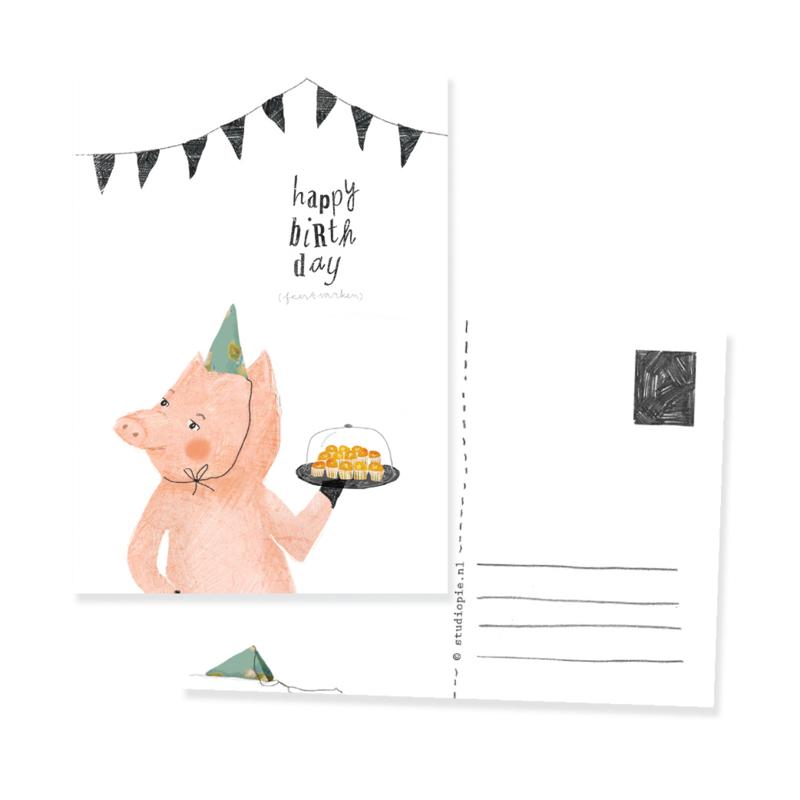 Grappige ansichtkaart feestvarken | per 5 stuks