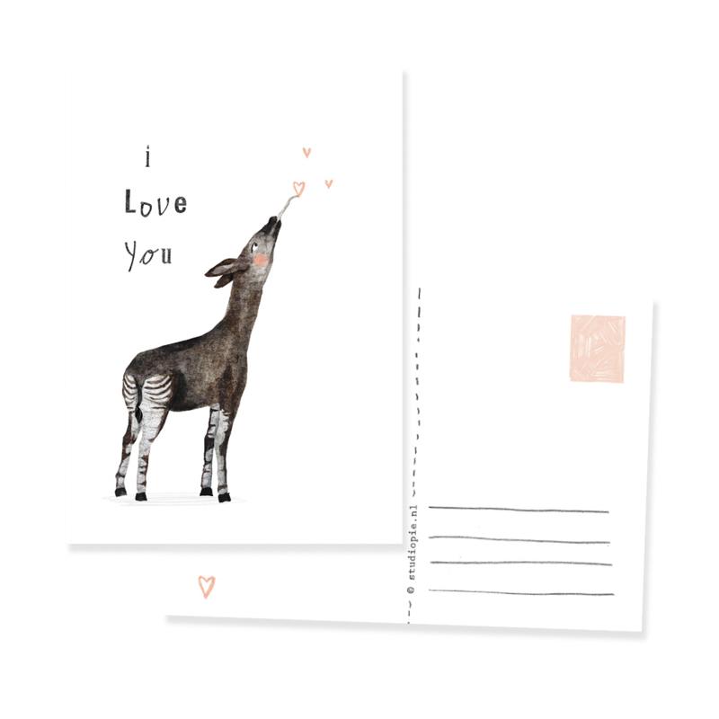 ansichtkaartje okapi I love you | per 5 stuks