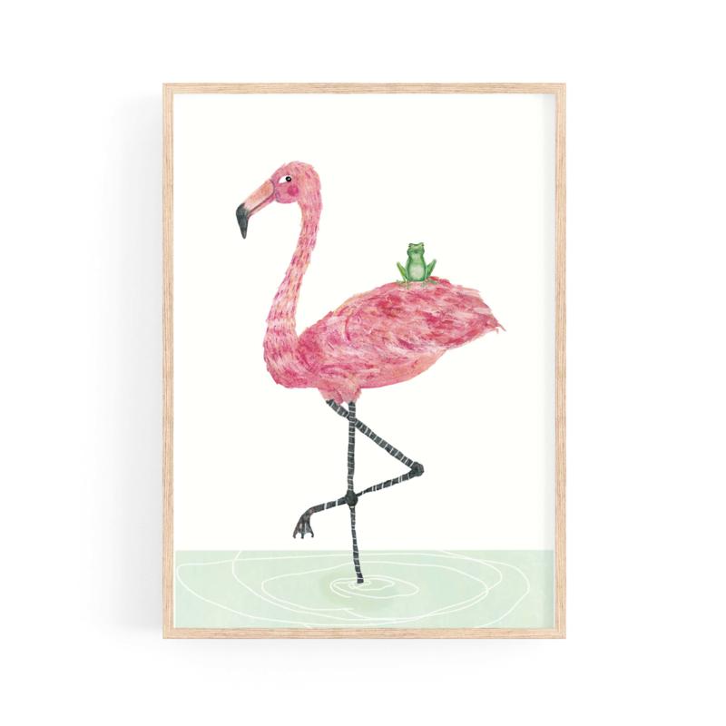 poster flamingo en kikker BFF -A4 | per 5