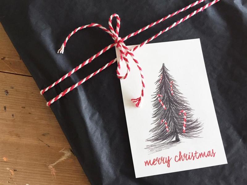 cadeaulabel | kerstboom | per 5