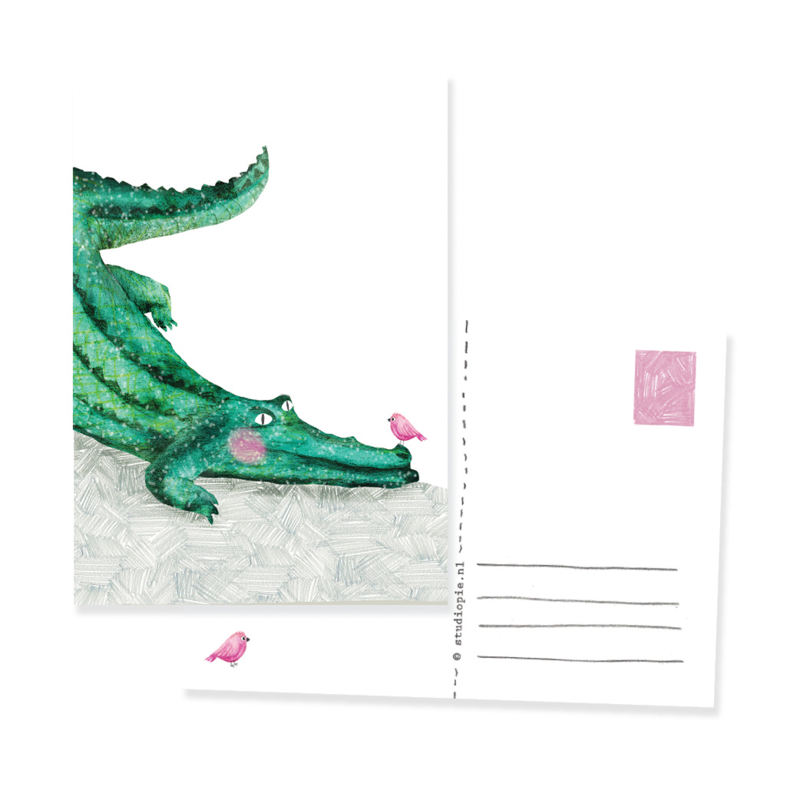 postkaartje met vogel en krokodil | per 5