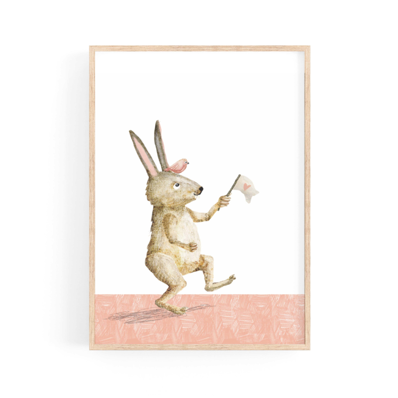 poster crazy rabbit  with bird and flag -A4