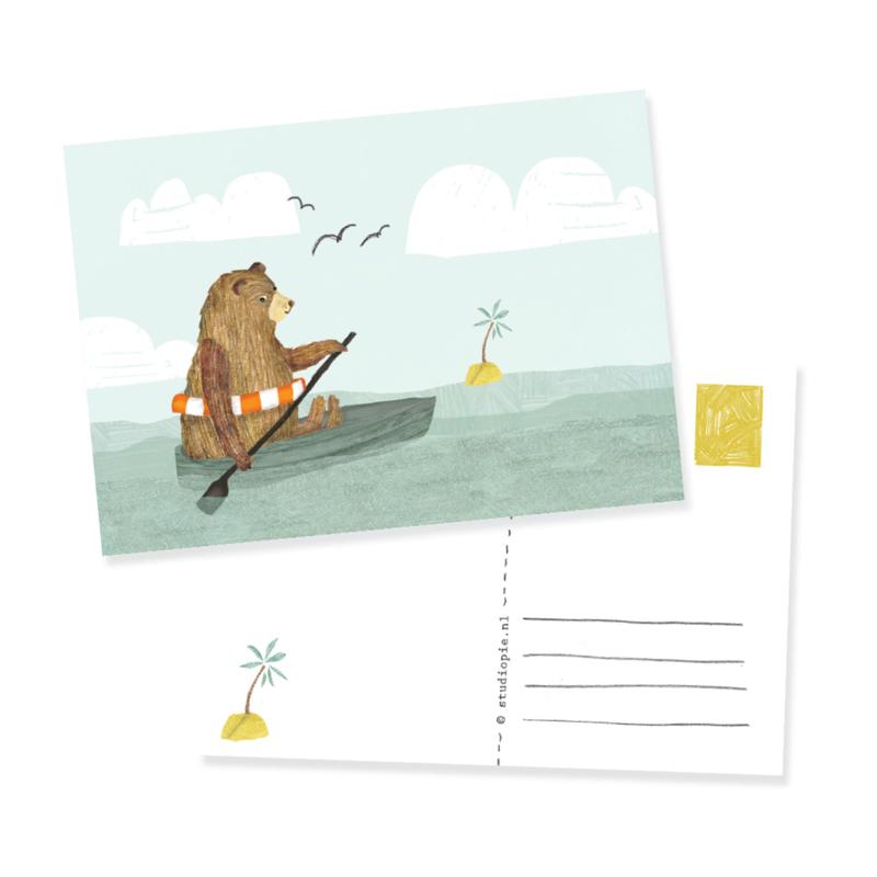 ansichtkaartje  avontuur beer in een boot | per 5 stuks
