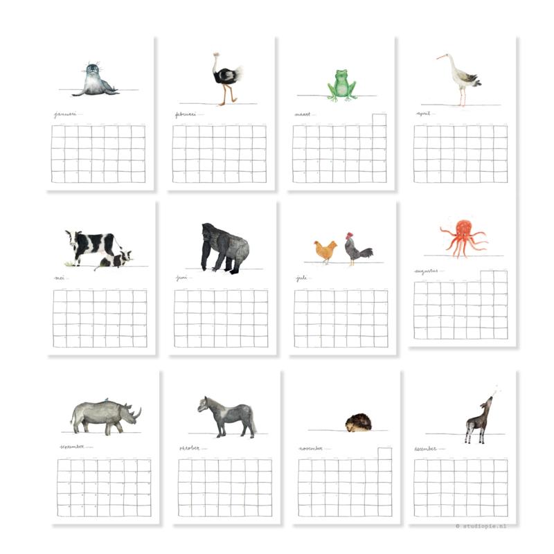 Vrolijke dieren maandkalender 2020