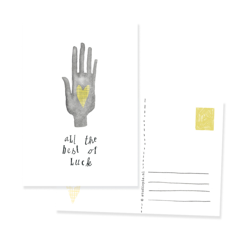 ansichtkaartje Hamsa hand all the best of luck | per 5 stuks