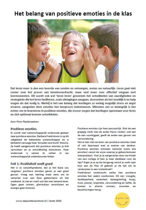 Het belang van positieve emoties in de klas