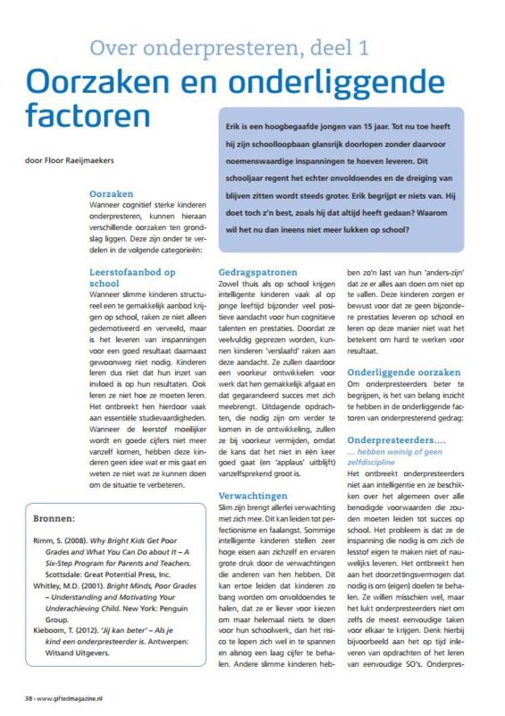 Onderpresteren: oorzaken en onderliggende factoren