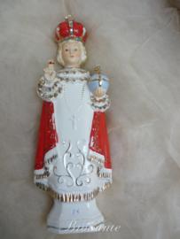 Brocante heiligenbeeldje, kindje Jezus van Praag in porselein