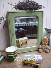 Mooi mintgroen vintage apothekerskastje met spiegel