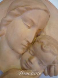 Mooie vintage plaquette, moeder met kind - Terra cotta