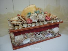 Leuk vintage juwelenkistje met schelpen, schelpendoos