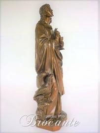 Mooie antieke brons, Johannes en de gifbeker, getekend  Verrebout Paris