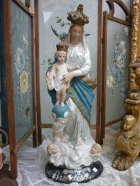 """Antiek beeld Maria met kind en Engelen """"Notre Dame des Victoires"""", Frankrijk, ca 1900 (zilverkleurig onderkleed)"""