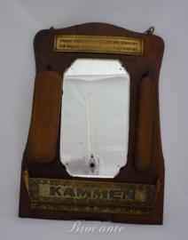 Art-deco toiletspiegeltje met kleerborstels en kambakje - met spreuk