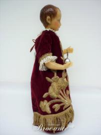 Zeldzaam antiek Christuskind (Salvator Mundi) in was met brokaat kleed