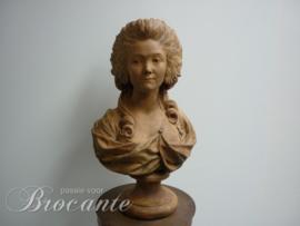 Prachtige Franse terracotta buste van Marie Antoinette