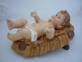 Mooi groot kerst kindje Jezus in kribbe - 43 cm