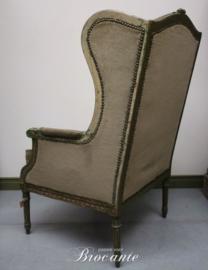 Oude groen gepatineerde Louis XVI oorzetel (fauteuil)