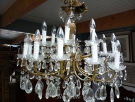 Grote vintage kristalen kroonluchter met 18 lichtpunten