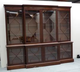 Grote Engelse bibliotheekkast in mahonie