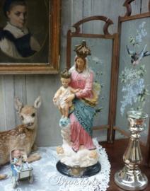 """Antiek beeld Maria met kind en Engelen """"Notre Dame des Victoires"""", Frankrijk, ca 1900"""