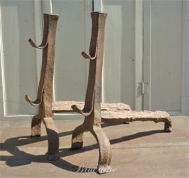 Set antieke Louis XIII vuurbokken (haardbokken) 17de eeuw - Landiers