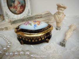 Vintage Frans juwelendoosje - Veritable porcelaine cobalt (Limoges)