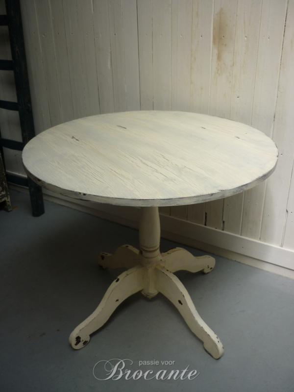 Oud antiek rond wijntafeltje/eettafel, diameter 85 cm