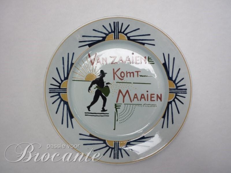 Art nouveau bord Franz Anton Mehlem, Bonn - Van zaaien komt maaien