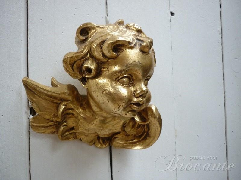 Lief verguld engel kopje met vleugeltjes