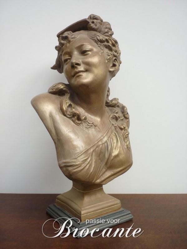 Mooie Franse brocante dames buste (H 60 cm)