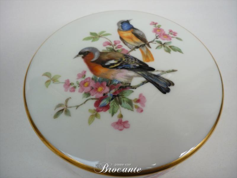 Vintage porseleinen juwelendoosje met vogeltjes decor - Bavaria (Duitsland)