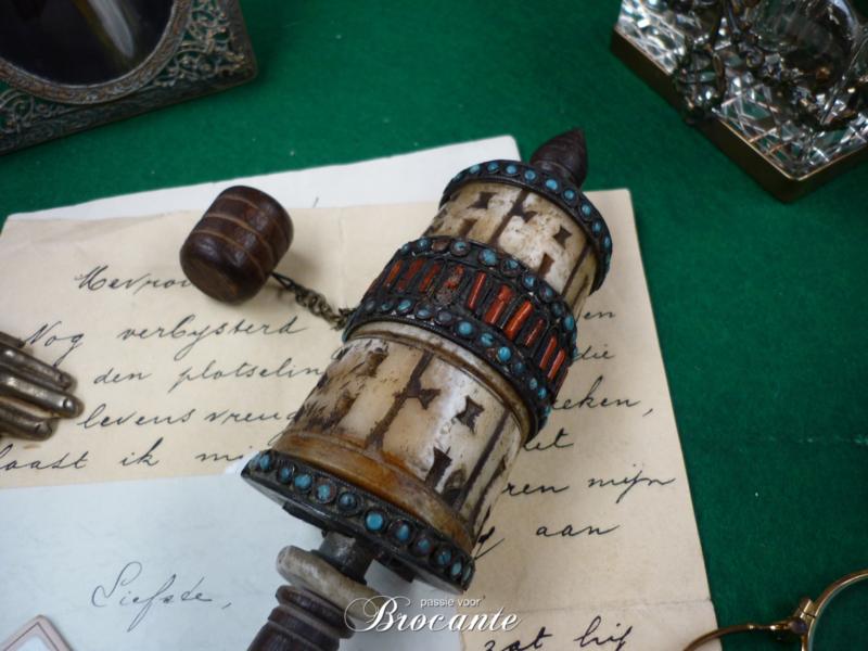 Zeer mooie Tibetaanse gebedsmolen  - Om mani padme hum