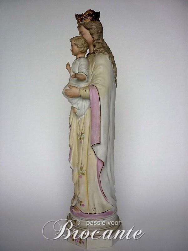 Zeer mooie antieke H. Maria met kindje Jezus in biscuit