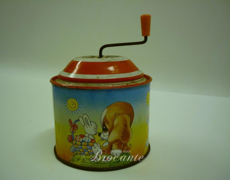Vintage Lorenz Bolz Zirndorf speelgoed muziek doos in blik