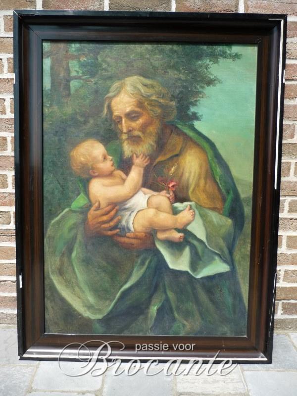 Jozef met kindje Jezus - onleesbaar getekend