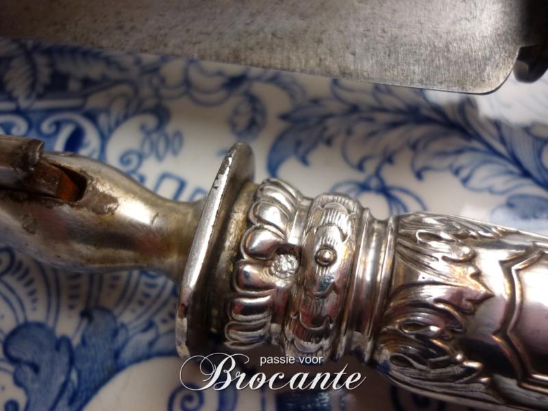 Antiek zilveren vleesmes en vork