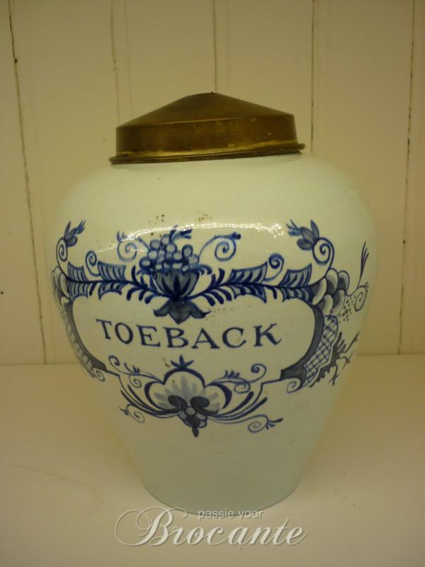 Antieke Delftse tabakspot met opschrift TOEBACK, 19de eeuws