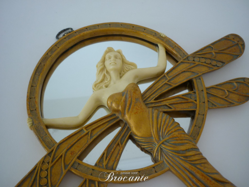 Zeer mooie antieke art nouveau spiegel