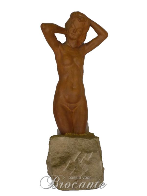 Mooie naakt sculpture in terre cuite - Koos van der Kaaij (Koos van der Kaay)