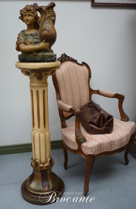 Mooie grote originele art deco pedestal (sokkel) in gips